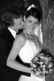 Het kussen van de bruid en van de bruidegom Stock Afbeelding