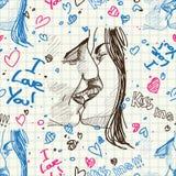 Het kussen van de jongen en van het meisje. Stock Foto's