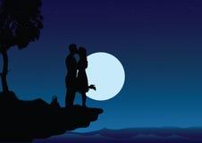 Het kussen van het paar in de nacht vector illustratie