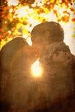 Het kussen van het paar in het park bij zonsondergang. Stock Afbeeldingen
