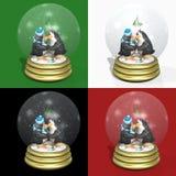 Het kussen van Pinguïnen Snowglobes royalty-vrije illustratie