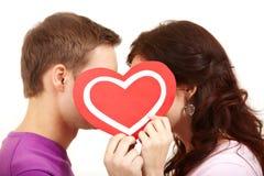 Het kussen van valentijnskaarten Royalty-vrije Stock Foto's