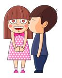 Het Kussende Meisje van de jongen De vectorillustratie van Valentine royalty-vrije illustratie