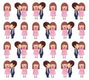 Het Kussende Meisje van de jongen Het vectorpatroon van Valentine royalty-vrije illustratie
