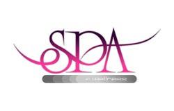 Het kuuroord en wellness van het embleem in roze en grijze kleur Stock Foto