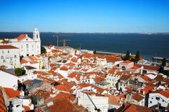 Het kwart Lissabon van Alfama stock foto