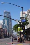Het Kwart van San Diego's Gaslamp en het Vijfde Ave Stock Foto's