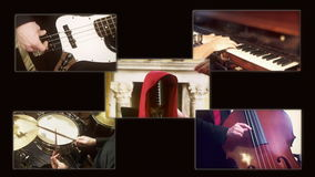 Het kwartetsamenstelling A van de muziekjazz stock videobeelden