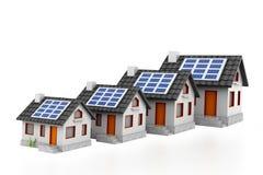 Het kweken van de grafiek van de huisverkoop met zonnepanelen royalty-vrije illustratie