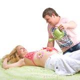 Het kweken van een baby Stock Afbeeldingen