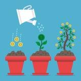 Het kweken van geld op blauw Stock Afbeeldingen