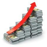 Het kweken van grafiek van Amerikaanse dollarbankbiljetten Stock Foto's