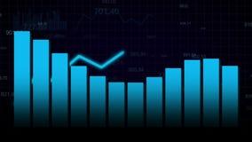 Het kweken van grafiek op donkerblauwe achtergrond stock footage