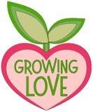 Het kweken van liefde kleurrijke affiche met hart gevormde installatie Stock Afbeelding