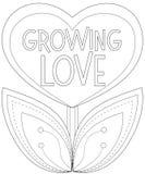 Het kweken van liefdeaffiche met hart gevormde installatie Stock Fotografie