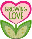 Het kweken van liefdeaffiche met hart vormde installatie op witte achtergrond wordt geïsoleerd Stock Foto's