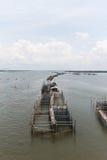 Het kweken van vis van de kooi in de rivier Stock Foto's