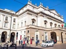 Het La Scala van het operahuis en Theatermuseum in Milaan stock afbeelding
