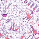 Het laboratoriumachtergrond van de wetenschapschemie (schetsmatig naadloos geklets Royalty-vrije Stock Foto