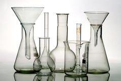 Het materiaal van het glaslaboratorium stock foto