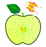 Het labyrint van de appel. rupsband en vlinder Stock Afbeeldingen
