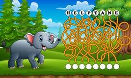 Het labyrint van de spelolifant vindt manier aan het woord stock illustratie