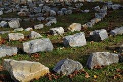 Het labyrint van de steen stock afbeeldingen