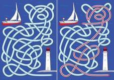 Het labyrint van de zeilboot Stock Foto