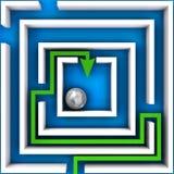 Het labyrint van twijfel over blauw Stock Foto