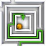 Het labyrint van twijfel over wit Stock Foto