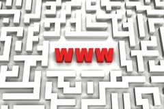 Het Labyrint van World Wide Web - 3D beeld Stock Afbeeldingen