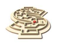 Het labyrintbalspel van de geldvorm, 3D illustratie Royalty-vrije Stock Afbeelding