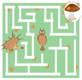 Het labyrintspel van kinderen over een egel en een paddestoel stock afbeelding