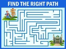 Het labyrintspel vindt de mensenmanier aan de moskee stock illustratie
