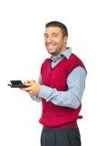 Het lachen de calculator van de mensenholding Royalty-vrije Stock Foto