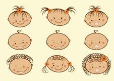 Het lachen de gezichten van kinderen. Reeks. Stock Afbeelding