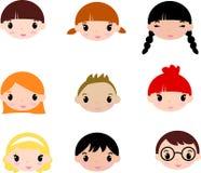Het lachen de gezichten van kinderen. Reeks Royalty-vrije Stock Fotografie