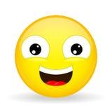 Het lachen Emoji Emotie van geluk Zoete glimlach emoticon Stock Afbeelding
