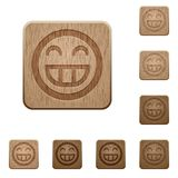 Het lachen emoticon sneed houten knopen Stock Foto