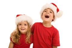 Het lachen Kerstmisjonge geitjes Stock Afbeelding