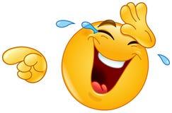 Het lachen met scheuren en het richten emoticon stock illustratie