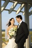 Het lachen van de bruid en van de bruidegom. Royalty-vrije Stock Afbeeldingen