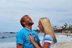 Het lachende Paar van het Strand Stock Foto