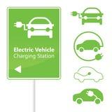 Het Laden van het elektrische voertuig de verkeersteken van de Post Royalty-vrije Stock Afbeelding