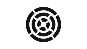 het ladingsscherm cirkel, zwart en donkergrijs op witte achtergrond - 30fps-lijn - videotextuur, naadloos geanimeerd element stock video