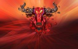 Het lage hoofd van de veelhoek Rode stier met geometrisch patroon op abstracte bedelaars vector illustratie