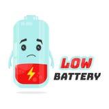 Het lage ontwerp van het batterijkarakter Vector vlakke beeldverhaalillustratie Het concept van de energiemacht Stock Foto's