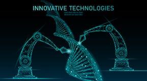 Het lage poly chemische DNA-concept van de synthesewetenschap De reactor van de de chemiegenetische biologie van het veelhoeklabo vector illustratie