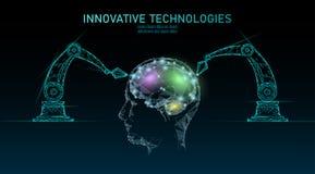 Het lage poly de machine van robot androïde hersenen leren Van de kunstmatige intelligentie de menselijke cyborg van de innovatie vector illustratie