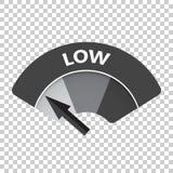 Het lage vectorpictogram van de risicomaat Lage brandstofillustratie op isola Stock Afbeeldingen